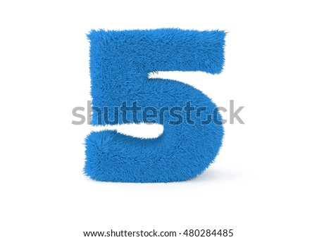 3d render blue furry number 5 on a white background.