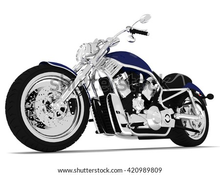 3d render blue motorcycle on a white background.