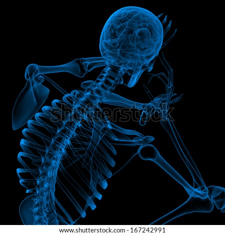 3d render blue skeleton of a sitting - back view - stock photo