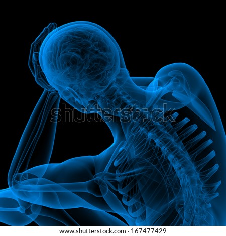 3d render blue skeleton of a sitting - side view - stock photo