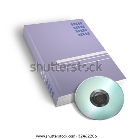 3d render Book and DVD on white background