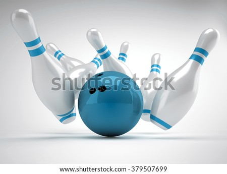 3d render bowling ball crashing into the pins  - stock photo