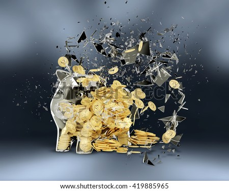 3d render Breaking piggy bank on gray background. - stock photo