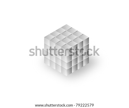 3-d render business concept. A complete large cube made from smaller cubes - stock photo