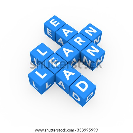 3d render business concept Lead, Earn, Learn with eleven blue cubes on a white background.