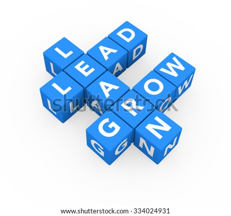 3d render business concept Learn, Lead, Grow with eleven crossword blue cubes on a white background.