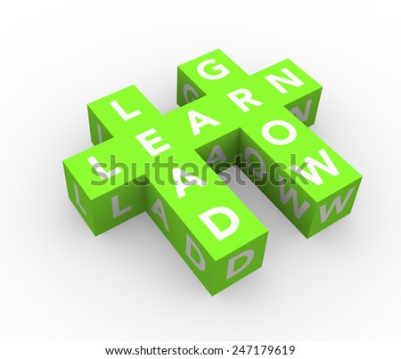 3d render business concept Learn, Lead, Grow with eleven green cubes on a white background.