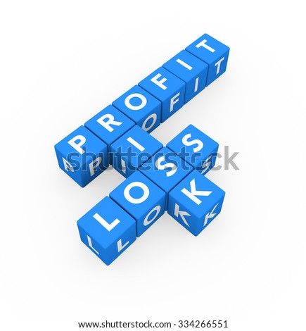 3d render business concept Profit Risk Loss with twelve crossword blue cubes on a white background.