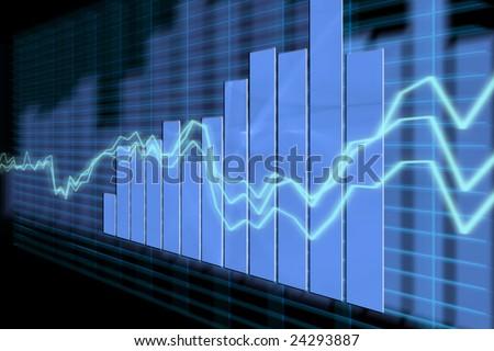 3d Render Business Graph - stock photo