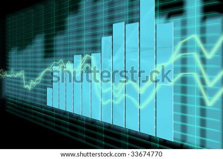 3d Render Business Graph - stock photo