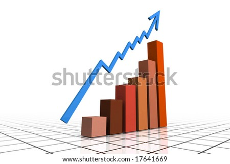 3d Render Business Graph With Arrow - stock photo