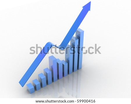 3d render bussiness graph with going up arrow