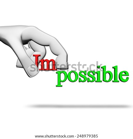 3D render character pick the word Impossible to possible - stock photo