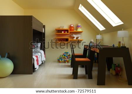 3d render children's room - stock photo