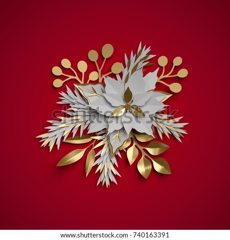 3 d render christmas flowers festive bouquet stock illustration 3d render christmas flowers festive bouquet poinsettia flat paper craft clip art mightylinksfo