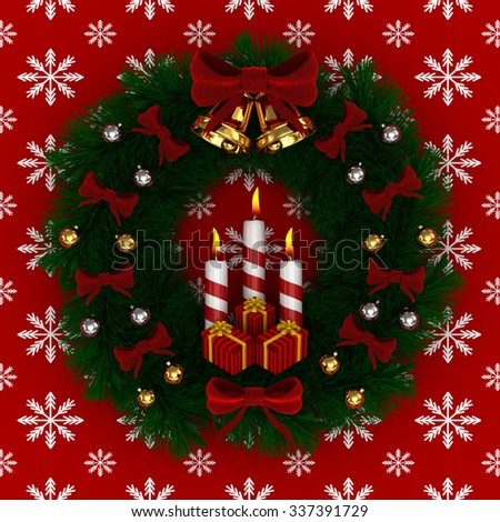 3D Render: Christmas wreath with red bow, Burning candles, jingle bells and gifts isolated on red-snow background - stock photo