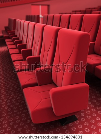 3d render cinema stage seats depth of field (sound system, spectacular lighting, upholstered in red fabric)
