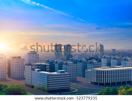 3d render City landscape with buildings and sunset