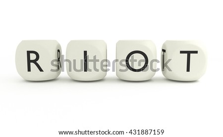 3D render, close up of word RIOT written on dices and isolated on white backround - stock photo