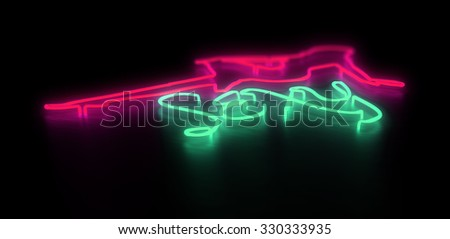 3d render club pink and green neon sign with girl and sexy text isolated on black background. - stock photo