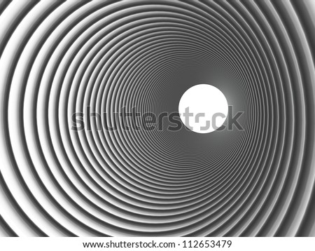 3d render concentric pipes in chrome silver - stock photo