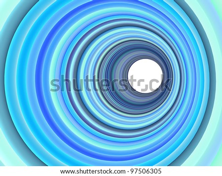 3d render concentric pipes in multiple blue purple colors - stock photo