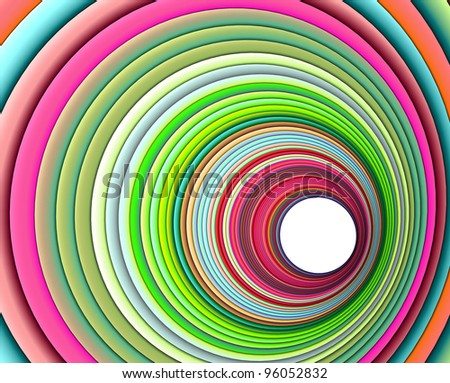3d render concentric pipes in multiple colors - stock photo