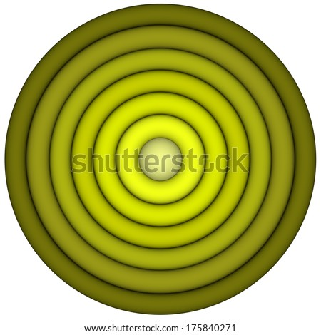 3d render concentric pipes in multiple green yellow  - stock photo