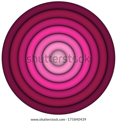 3d render concentric pipes in multiple pink red  - stock photo