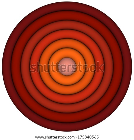 3d render concentric pipes in multiple red orange - stock photo
