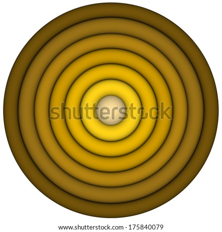 3d render concentric pipes in multiple yellow brown - stock photo