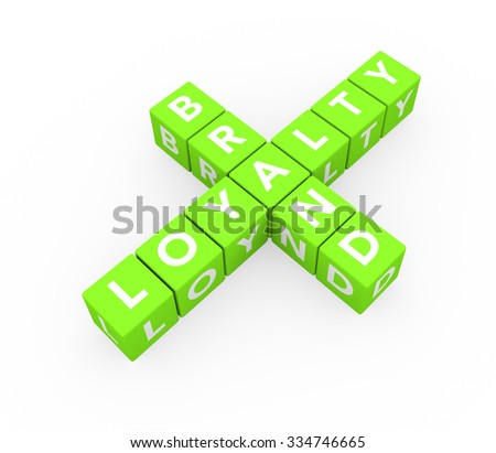 3d render concept Brand Loyalty with sixteen crossword green cubes on a white background.  - stock photo