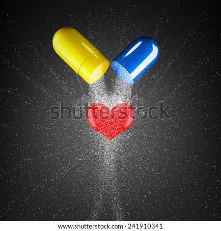 3d render concept capsules and heart. - stock photo