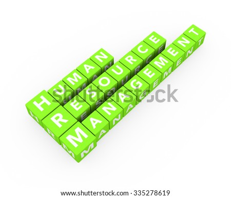 3d render concept HRM Human Resource Management with green cubes on a white background.