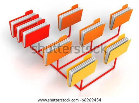 3D render concept illustration network files - stock photo