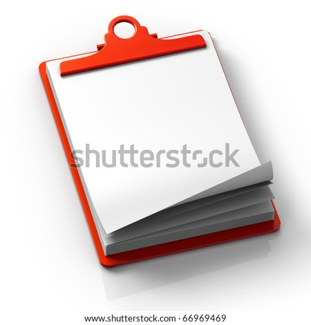 3D render concept illustration of clipping note pad with blank copy space