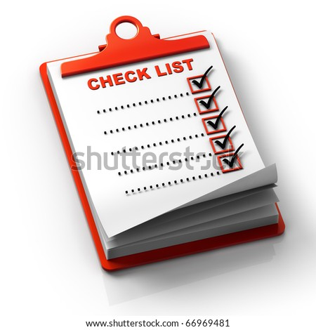 3D render concept illustration of clipping note pad with check list. - stock photo