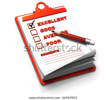 3D render concept illustration of clipping note pad with rating list. - stock photo