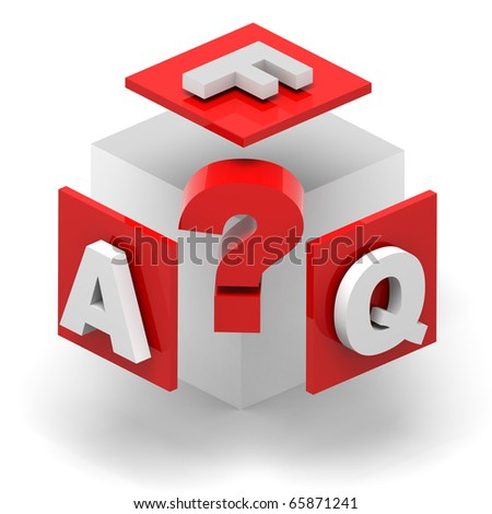 3D render concept illustration of cube with the F.A.Q. initials, and a central questionmark symbol