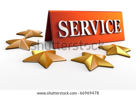 3D render concept illustration of 5 star service