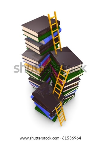 3d render concept. ladders and stacks of book, isolated over white background - stock photo