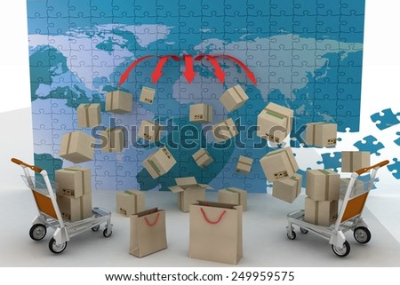 3d render concept of shipping everywhere - stock photo