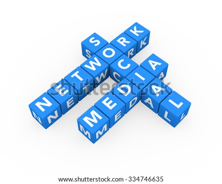 3d render concept Social Media Network with sixteen crossword blue cubes on a white background.  - stock photo