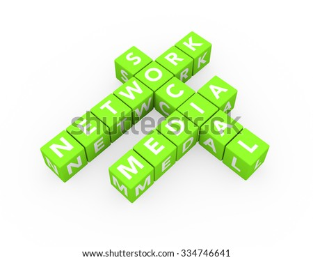 3d render concept Social Media Network with sixteen crossword green cubes on a white background.  - stock photo