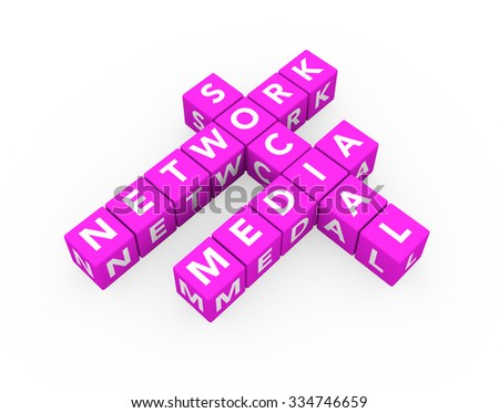 3d render concept Social Media Network with sixteen crossword pink cubes on a white background.  - stock photo