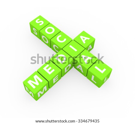3d render concept Social Media with ten crossword green cubes on a white background.  - stock photo