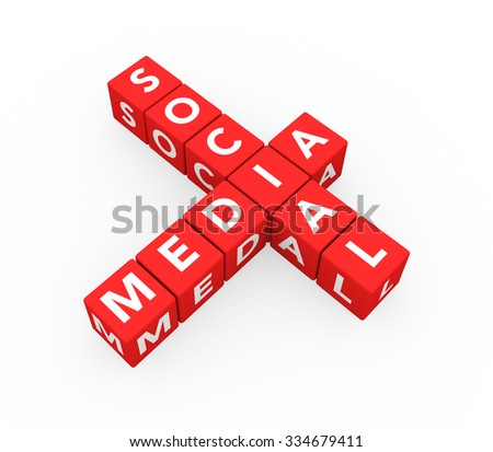 3d render concept Social Media with ten crossword red cubes on a white background.  - stock photo