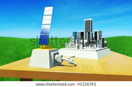 3D render - concept:  toy city on table, plugged to solar plant. Environment - Blue sky with high clouds and green meadow. Strong DoF effect (focus blur). - stock photo