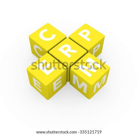 3d render concepts ERP Enterprise Resource Planning and CRM Customer Relationship Management with yellow cubes on a white background.  - stock photo
