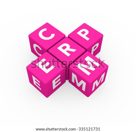 3d render concepts ERP Enterprise Resource Planning and CRM Customer Relationship Management with pink cubes on a white background.  - stock photo